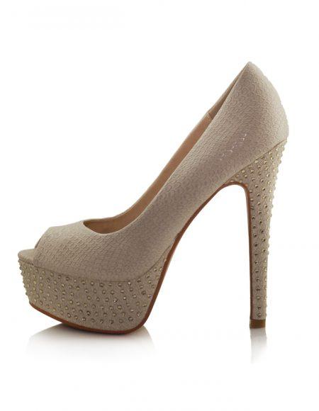 Yılan Krem Platform Topuk Taşlı Ayakkabı 2