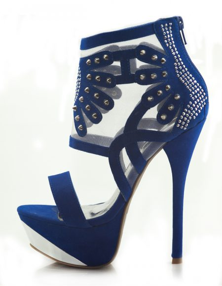 Mavi Yüksek Platform Topuklu Açık Ayakkabı 2