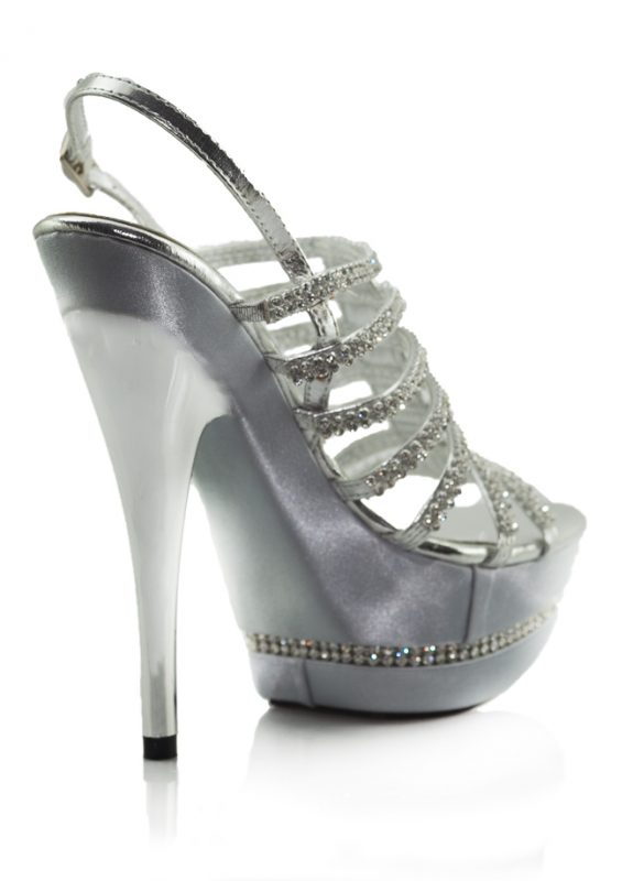 Parlak Taşlı Platform Topuklu Lame Ayakkabı 3