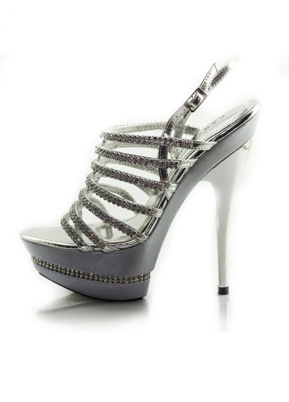 Parlak Taşlı Platform Topuklu Lame Ayakkabı 2