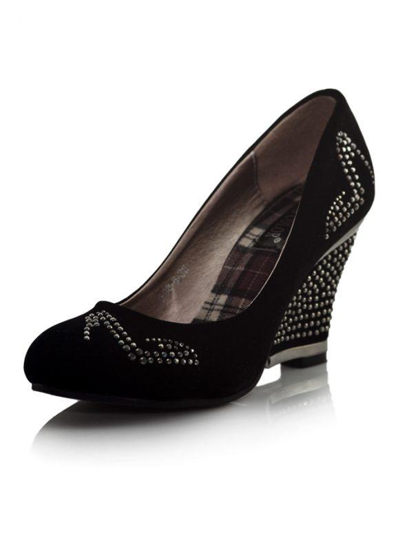 Siyah Dolgu Topuklu Taşlı Ayakkabı