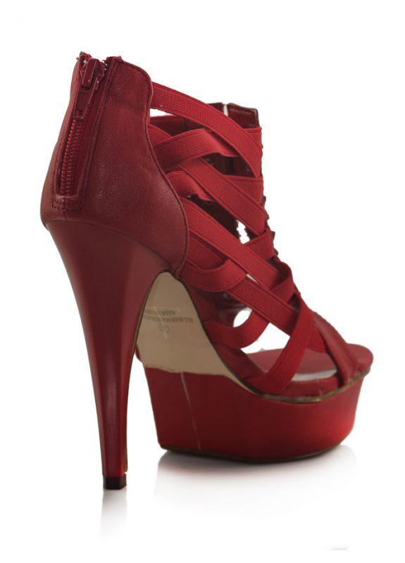 Kırmızı Yüksek Platform Topuklu Sandalet 3