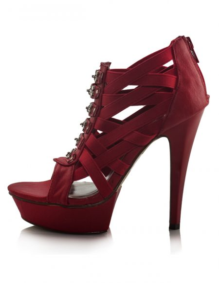 Kırmızı Yüksek Platform Topuklu Sandalet 2