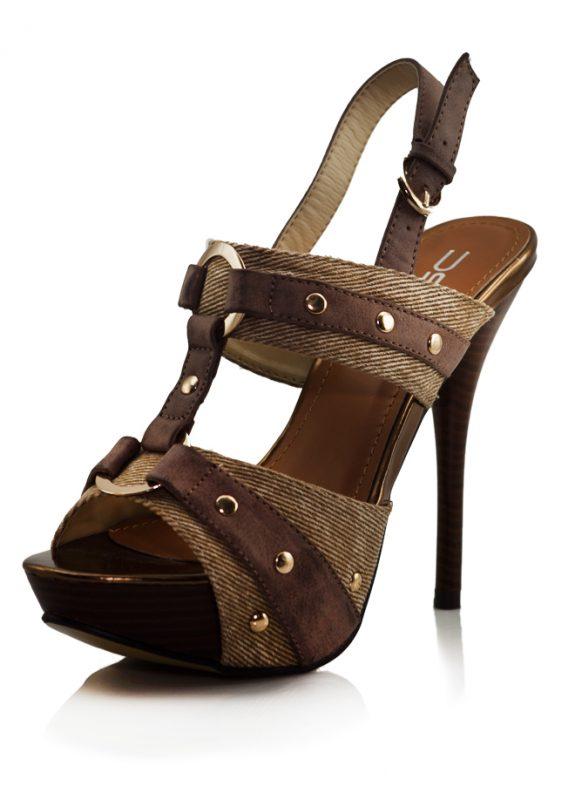 Kahve Rengi Bantlı Açık Topuklu Ayakkabı