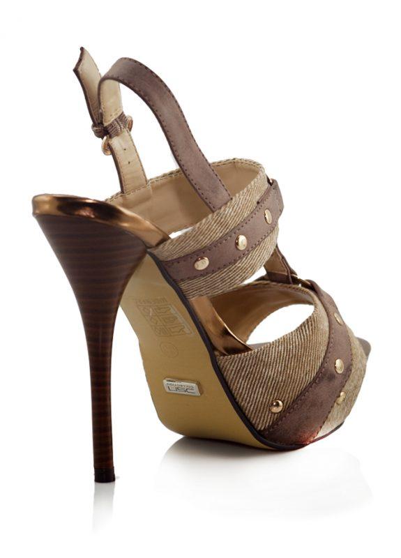 Kahve Rengi Bantlı Açık Topuklu Ayakkabı 3