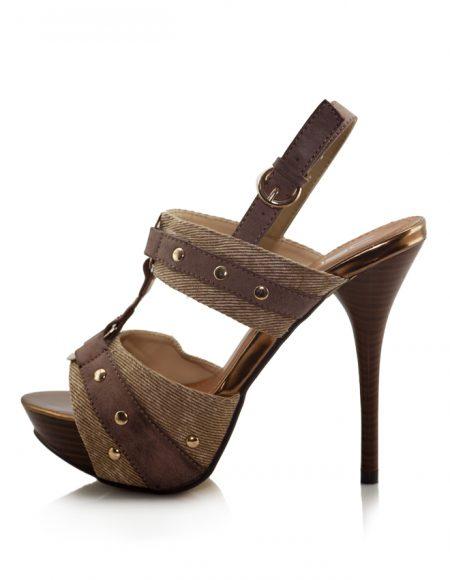Kahve Rengi Bantlı Açık Topuklu Ayakkabı 2