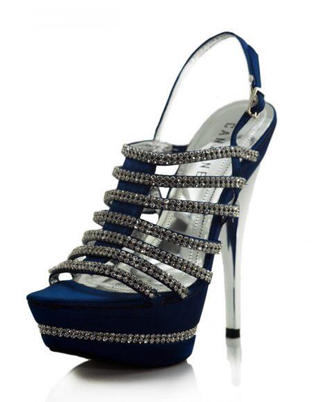 Parlak Taşlı Platform Topuklu Mavi Ayakkabı