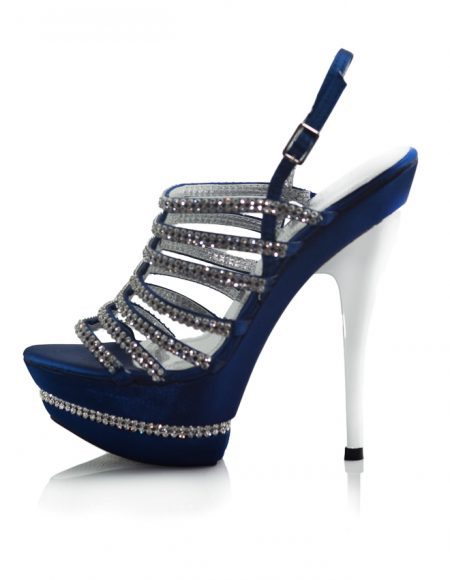 Parlak Taşlı Platform Topuklu Mavi Ayakkabı 2