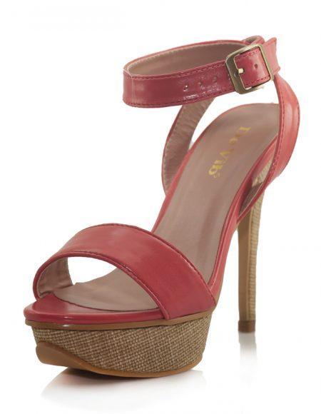 Pembe Bantlı Yüksek Platform Topuk Sandalet