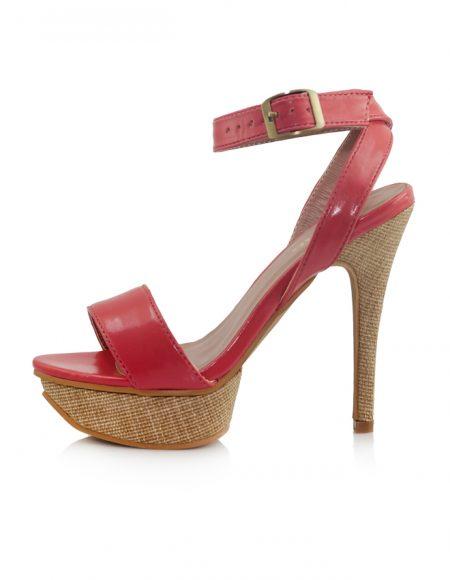 Pembe Bantlı Yüksek Platform Topuk Sandalet 2