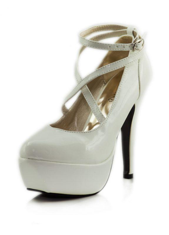 Beyaz Çapraz Bant Platform Topuklu Ayakkabı