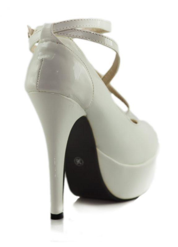 Beyaz Çapraz Bant Platform Topuklu Ayakkabı 3