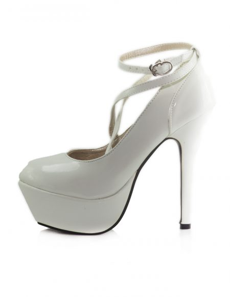 Beyaz Çapraz Bant Platform Topuklu Ayakkabı 2
