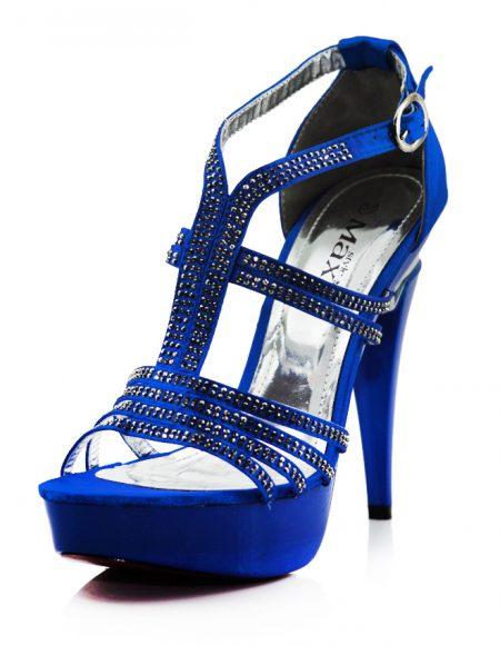 Taşlı Mavi Platform Topuklu Açık Ayakkabı