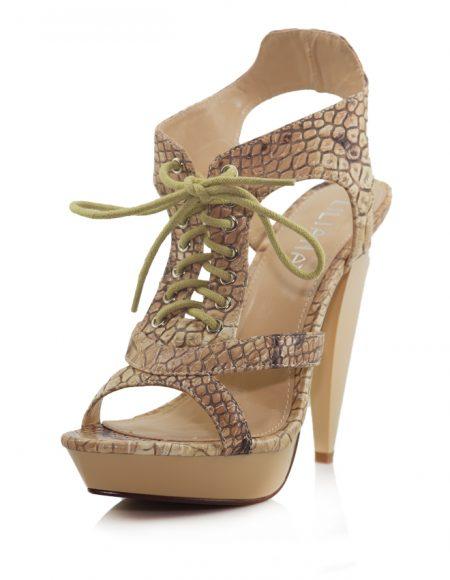 Yılan Desen Bağcıklı Platform Topuk Sandalet