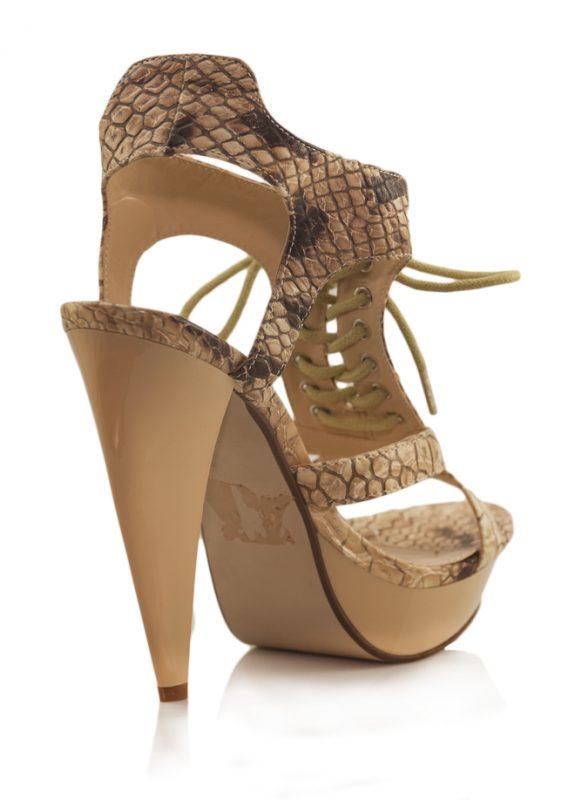 Yılan Desen Bağcıklı Platform Topuk Sandalet 3