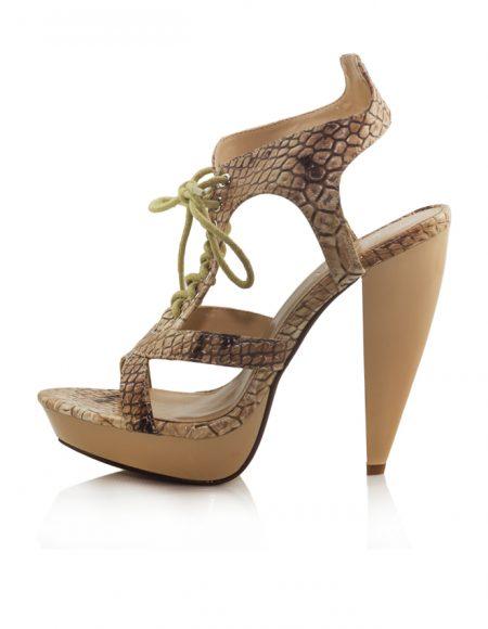 Yılan Desen Bağcıklı Platform Topuk Sandalet 2