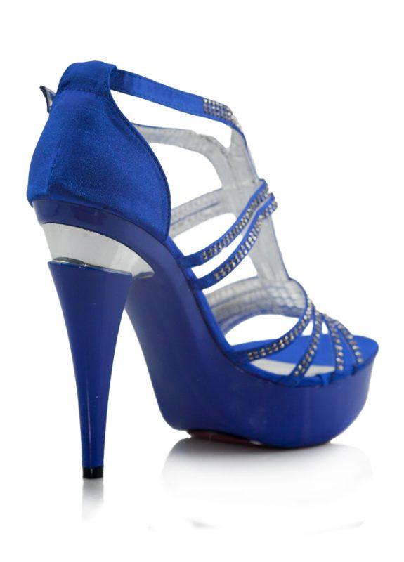 Taşlı Mavi Platform Topuklu Açık Ayakkabı 3
