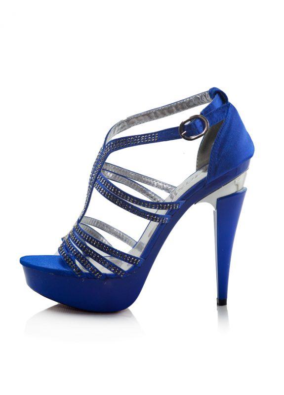 Taşlı Mavi Platform Topuklu Açık Ayakkabı 2