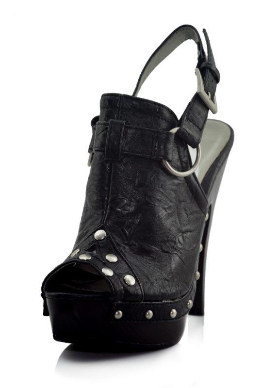 Metal Zımbalı Platform Topuk Siyah Sandalet