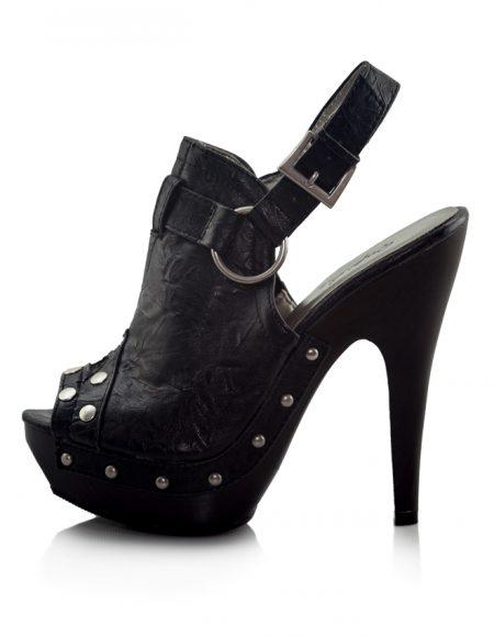 Metal Zımbalı Platform Topuk Siyah Sandalet 2