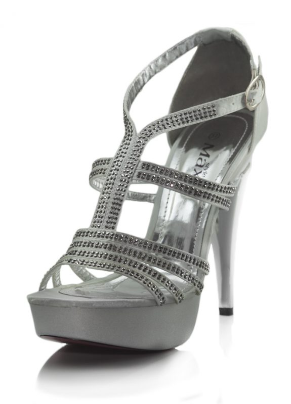 Taşlı Beyaz Platform Topuklu Açık Ayakkabı