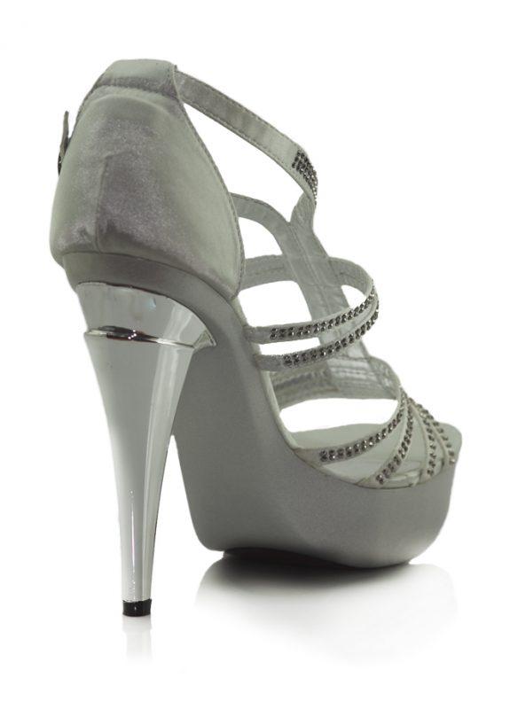 Taşlı Beyaz Platform Topuklu Açık Ayakkabı 3