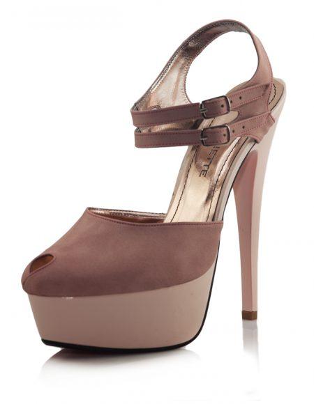 Pudra Bilek Bantlı Platform Topuk Ayakkabı