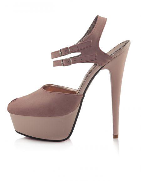 Pudra Bilek Bantlı Platform Topuk Ayakkabı 2