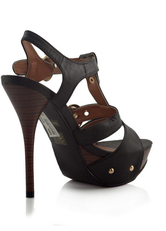 Siyah Dore Tokalı Platform Topuklu Sandalet 3