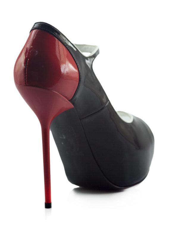 Siyah Kırmızı Rugan Platform Topuk Ayakkabı 3