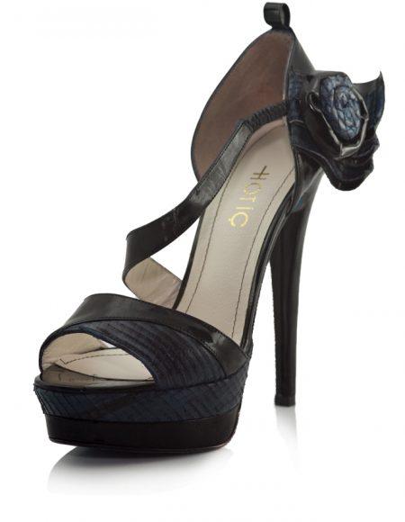 Hotiç Platform Topuklu Yeşil Siyah Ayakkabı