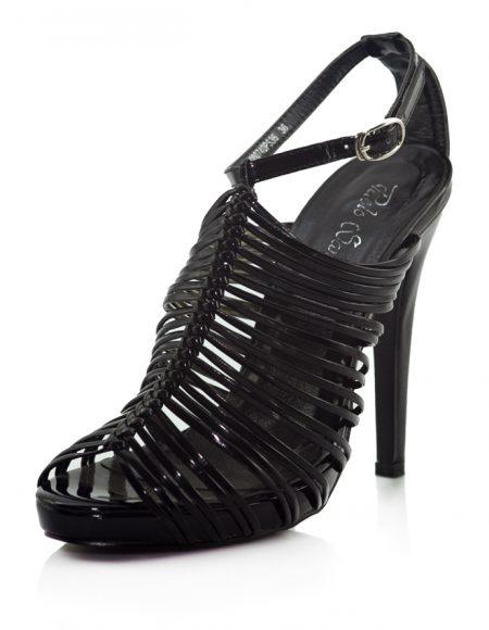 Siyah Rugan İnce Bant Topuklu Açık Ayakkabı