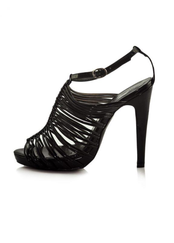 Siyah Rugan İnce Bant Topuklu Açık Ayakkabı 2
