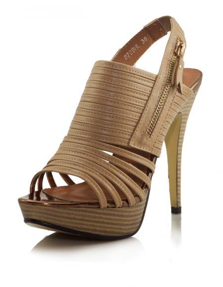Camel Ahşap Platform Topuk Açık Ayakkabı