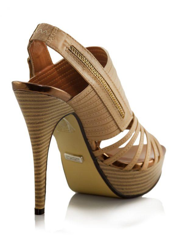 Camel Ahşap Platform Topuk Açık Ayakkabı 3