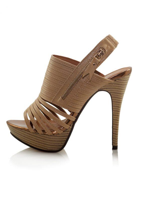 Camel Ahşap Platform Topuk Açık Ayakkabı 2