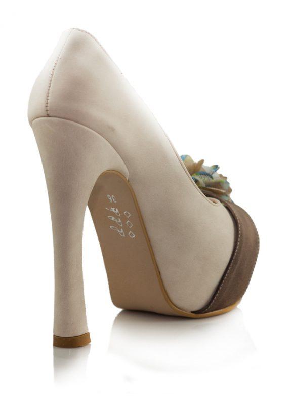 Krem Açık Burunlu Pump Topuklu Ayakkabı 3