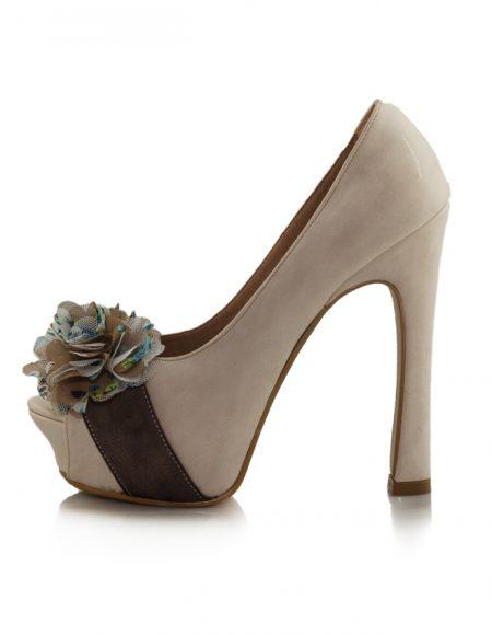 Krem Açık Burunlu Pump Topuklu Ayakkabı 2