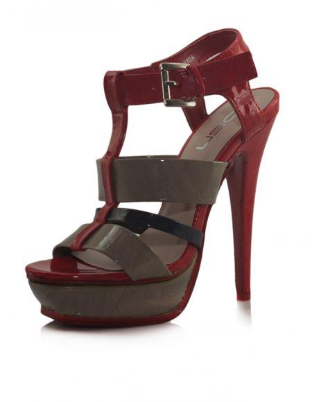 Kırmızı Kahve Siyah Platform Topuk Sandalet