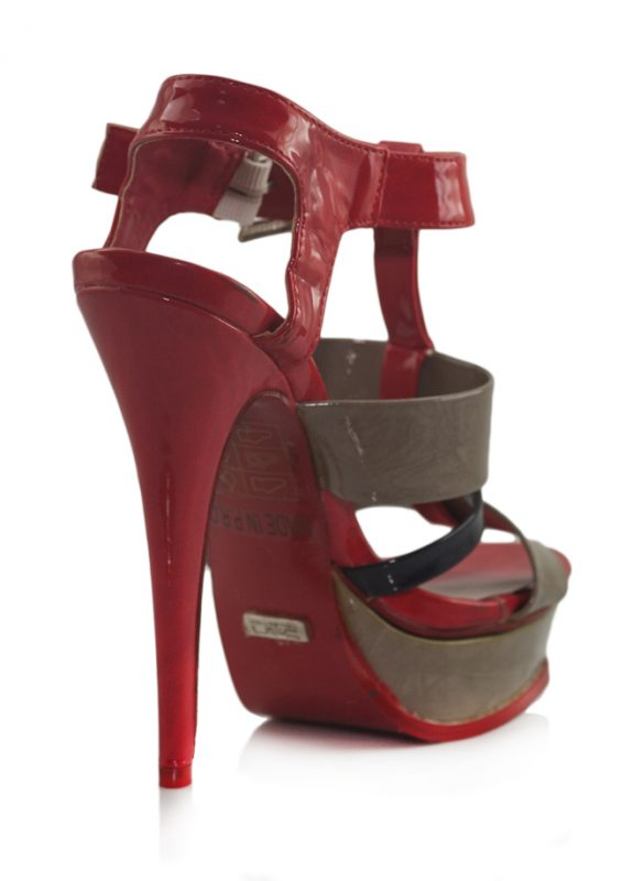 Kırmızı Kahve Siyah Platform Topuk Sandalet 3