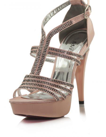 Taşlı Pembe Platform Topuklu Açık Ayakkabı