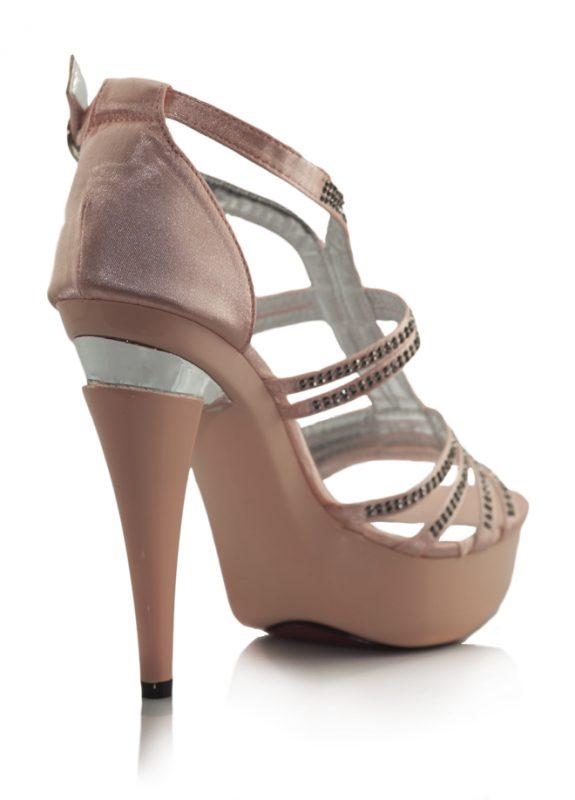 Taşlı Pembe Platform Topuklu Açık Ayakkabı 3