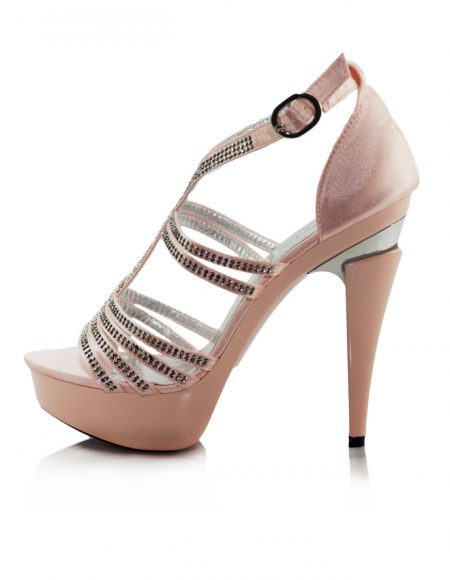 Taşlı Pembe Platform Topuklu Açık Ayakkabı 2