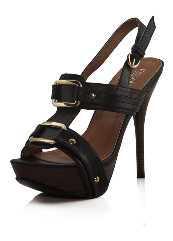 Siyah Cift Tokalı Platform Topuklu Sandalet