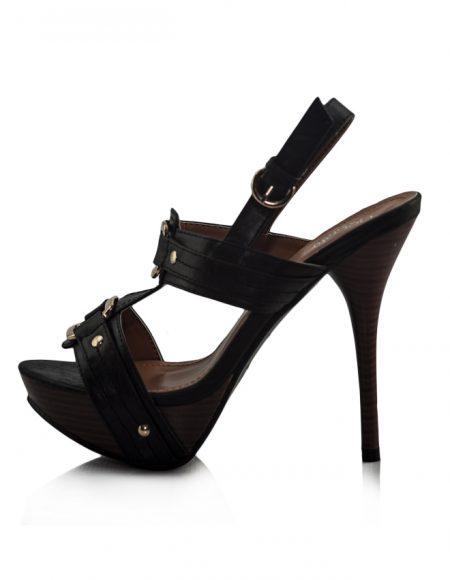 Siyah Cift Tokalı Platform Topuklu Sandalet 2