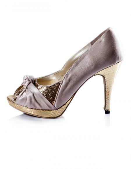 Dore Krem Abiye Açık Burun Topuklu Ayakkabı 2