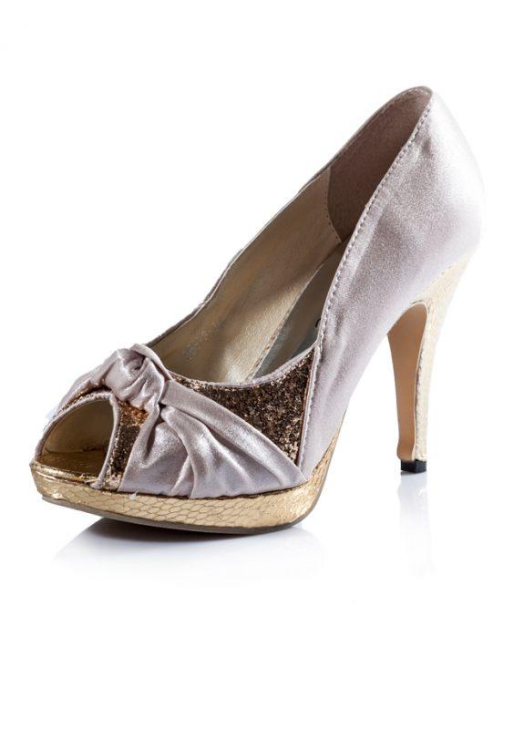 Dore Krem Abiye Açık Burun Topuklu Ayakkabı