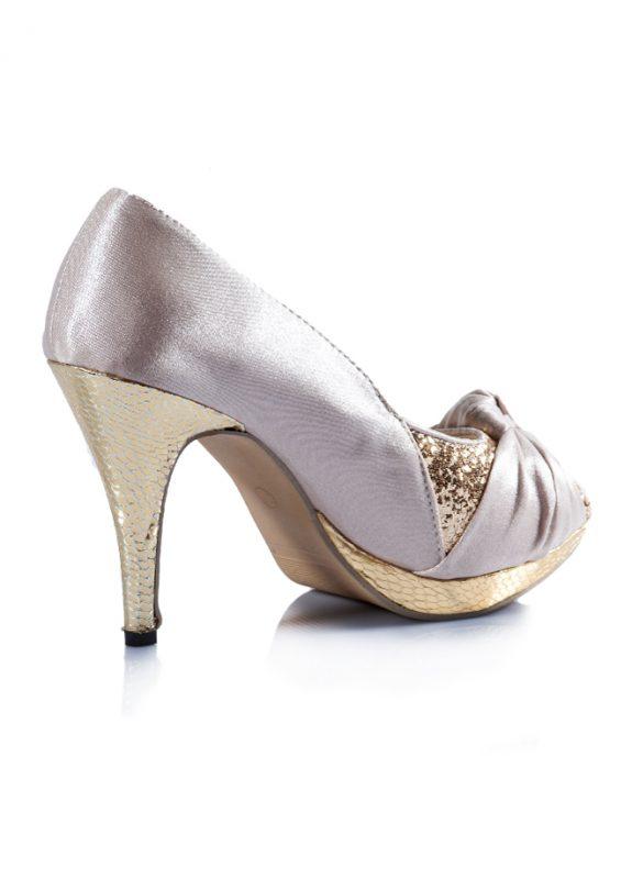 Dore Krem Abiye Açık Burun Topuklu Ayakkabı 3