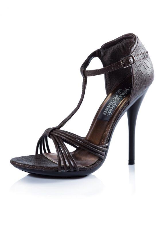 İnce Bantlı Topuklu Kahverengi Sandalet